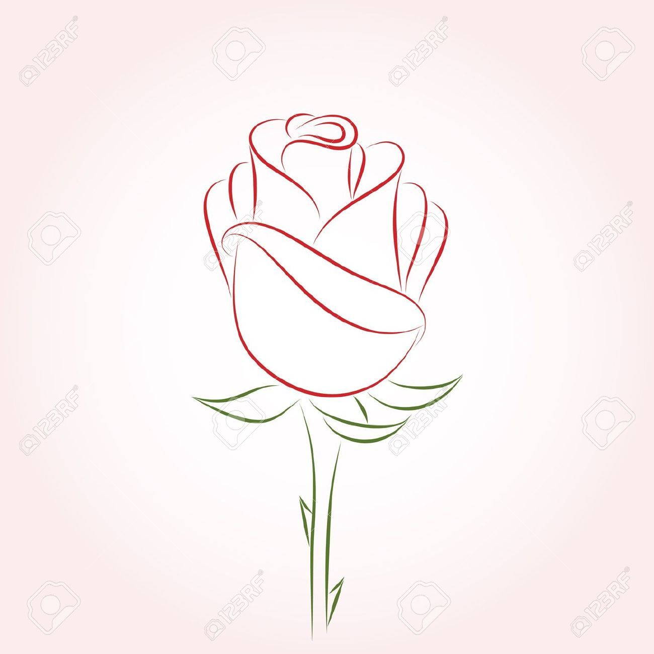 Red Rose Outline Roses Drawing Outline Drawings Flower Drawing