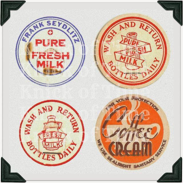vintage cap Milk Bottle Cap great graphic Pure fresh milk