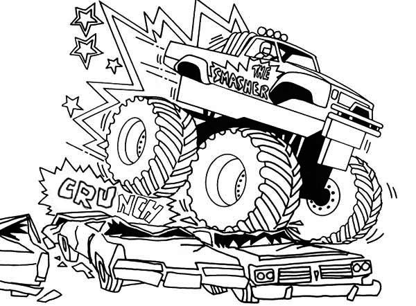 bigfoot monster truck coloring pages - Monster Truck Coloring Pages Easy