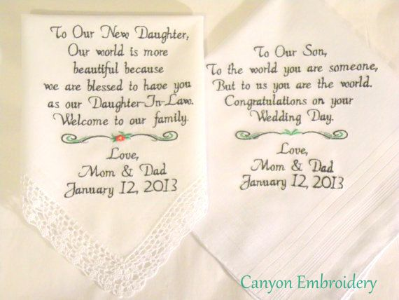 Embroidered Wedding Handkerchiefs Wedding Gift Daughter And Son