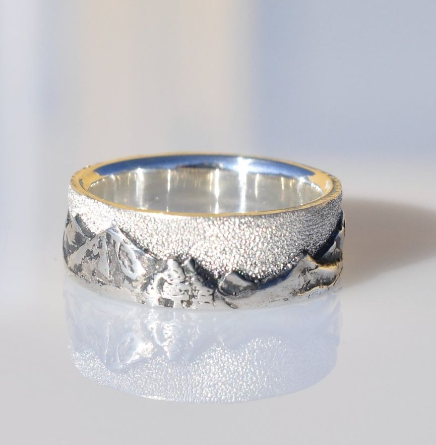 Sterling Silver Mountain Landscape Ring | Mountain landscape ...