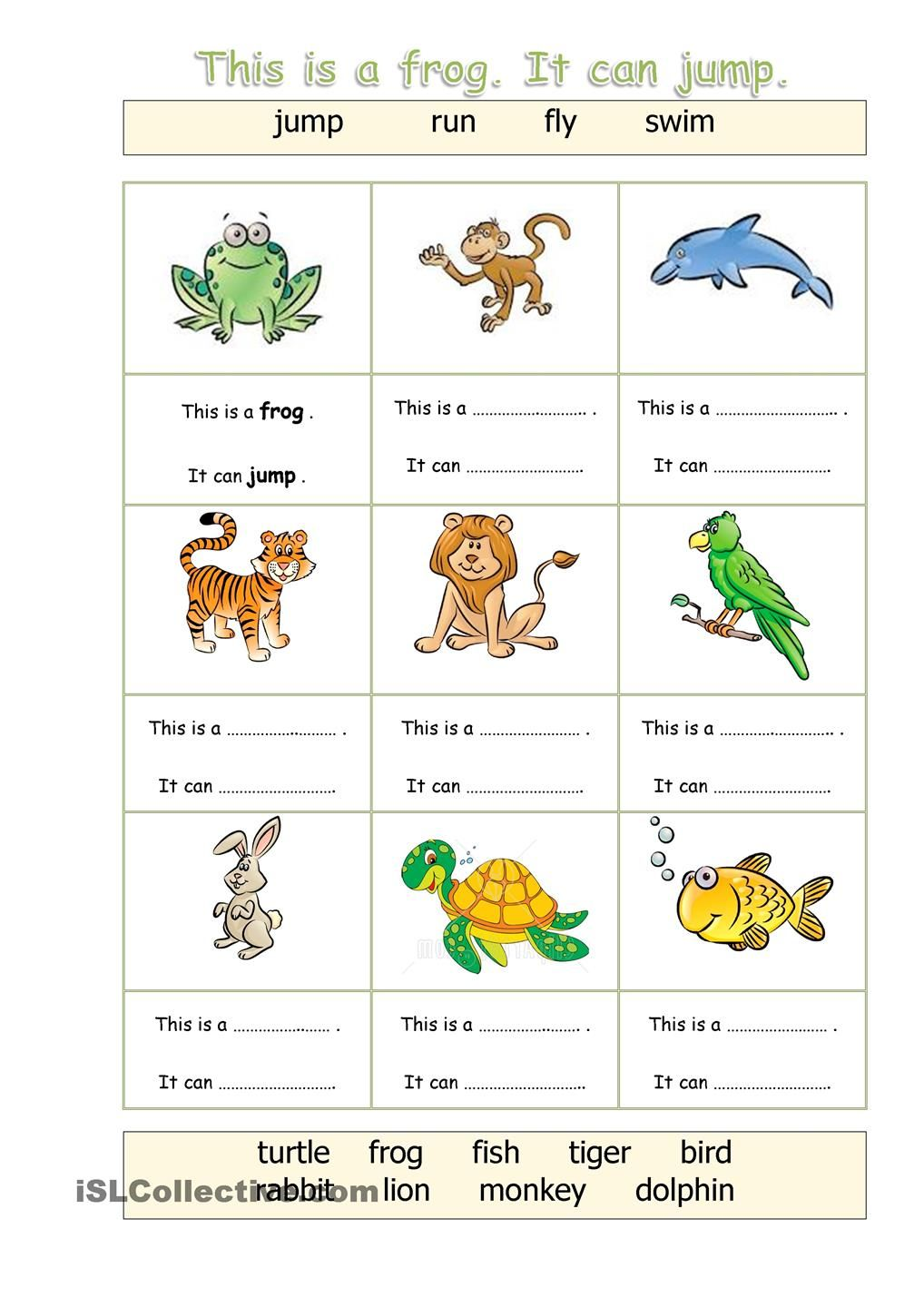 Animals Can English Worksheets For Kids English Test Kids