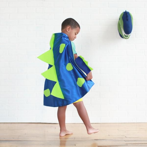 Blue and Lime 3D dino cape by PIp and Bean Halloween costumes - halloween costume ideas 2016 kids