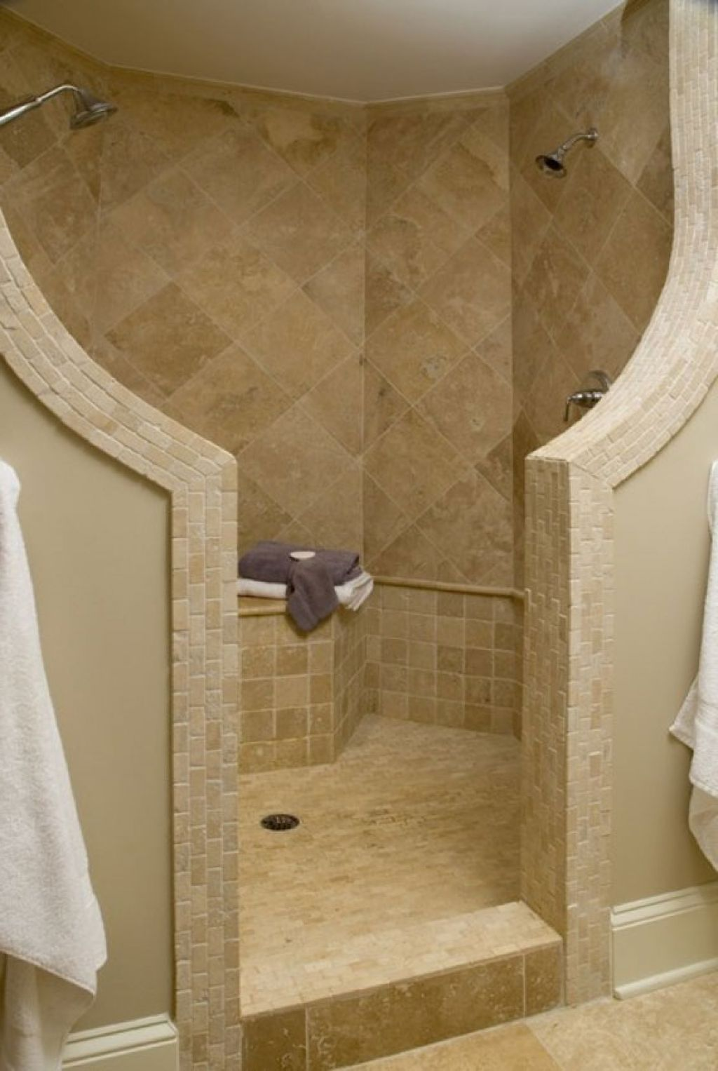 Bathroom , Ideas of Doorless Walk in Shower for Small Space Bathroom :  Unique Walls Separator
