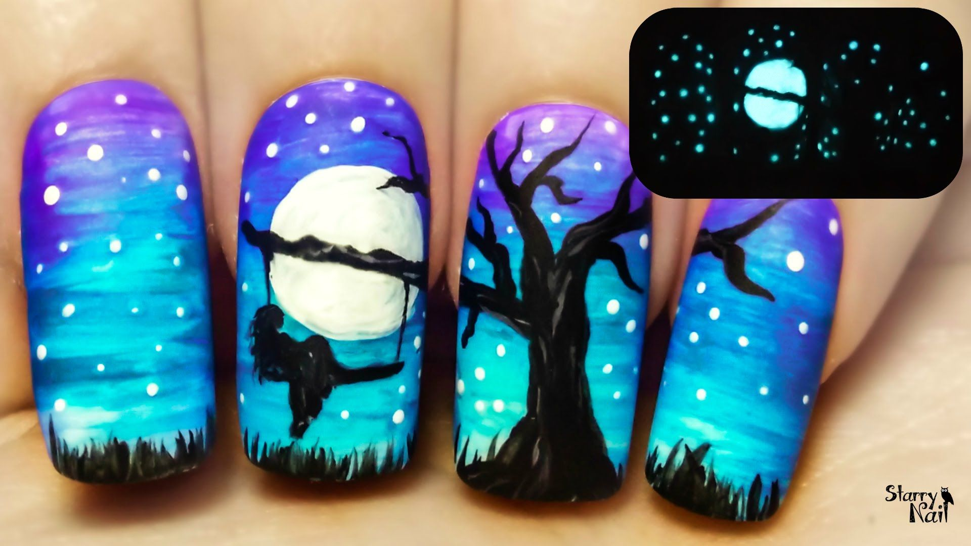A Tree Swing at Midnight ⎮ Glow in the Dark Freehand Nail Art ...