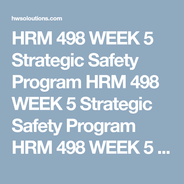 Hrm  Week  Strategic Safety Program Hrm  Week  Strategic