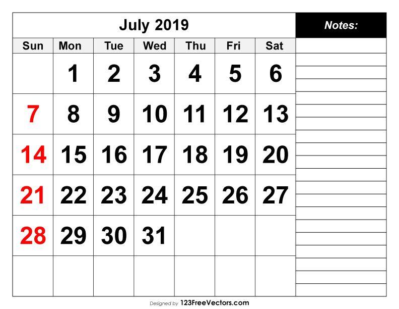 July 2019 Printable Calendar in 2018 Free Vectors Pinterest