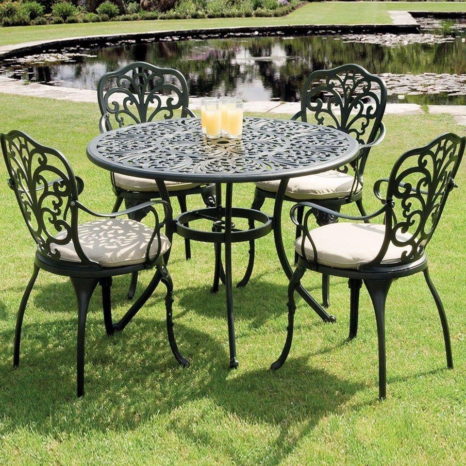Metal Garden Dining Set Black Cast Aluminium 8 Piece Table Chair