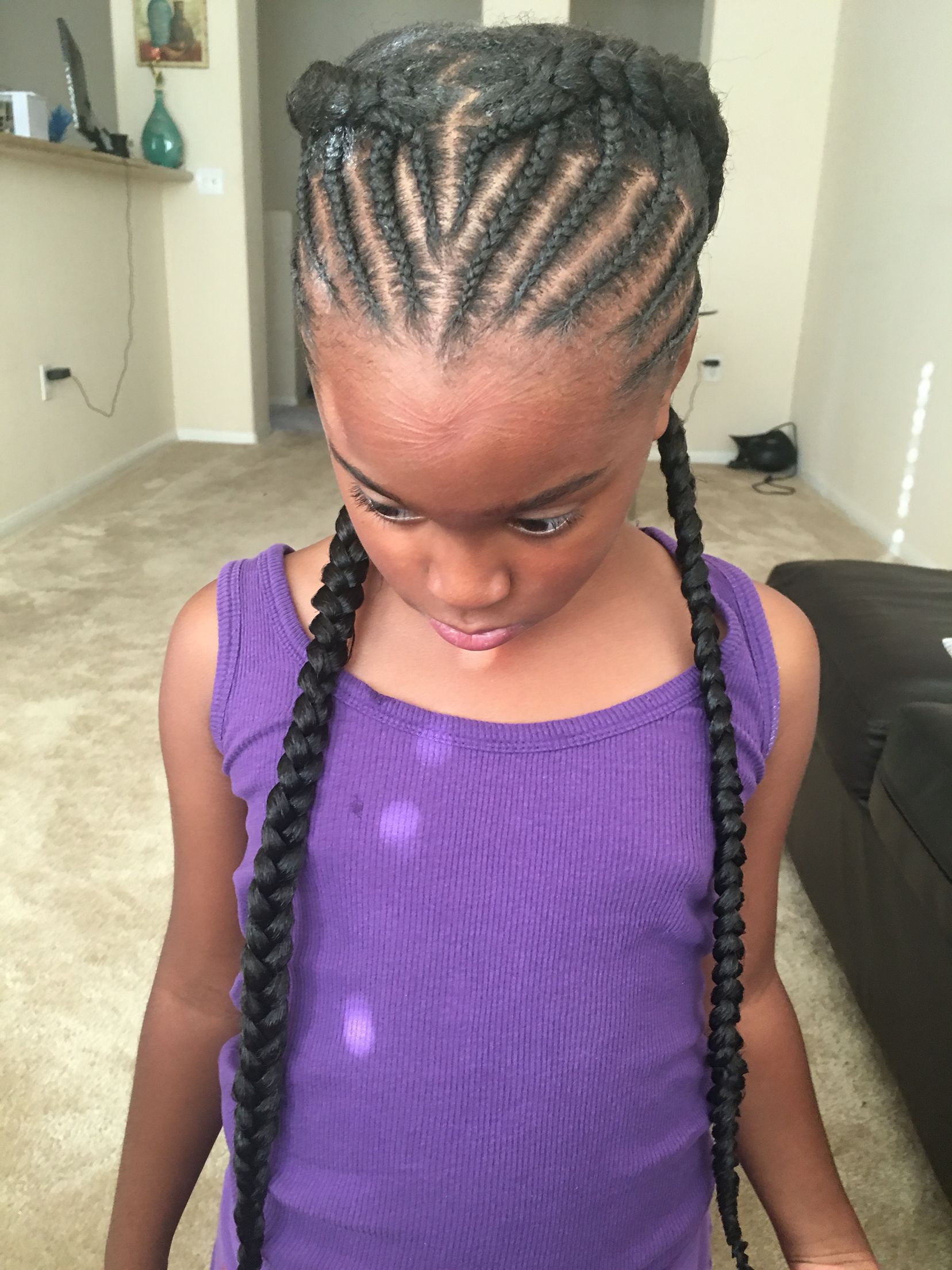 Goddess Braids Half Braided Halo Beehive Black Girl Hair