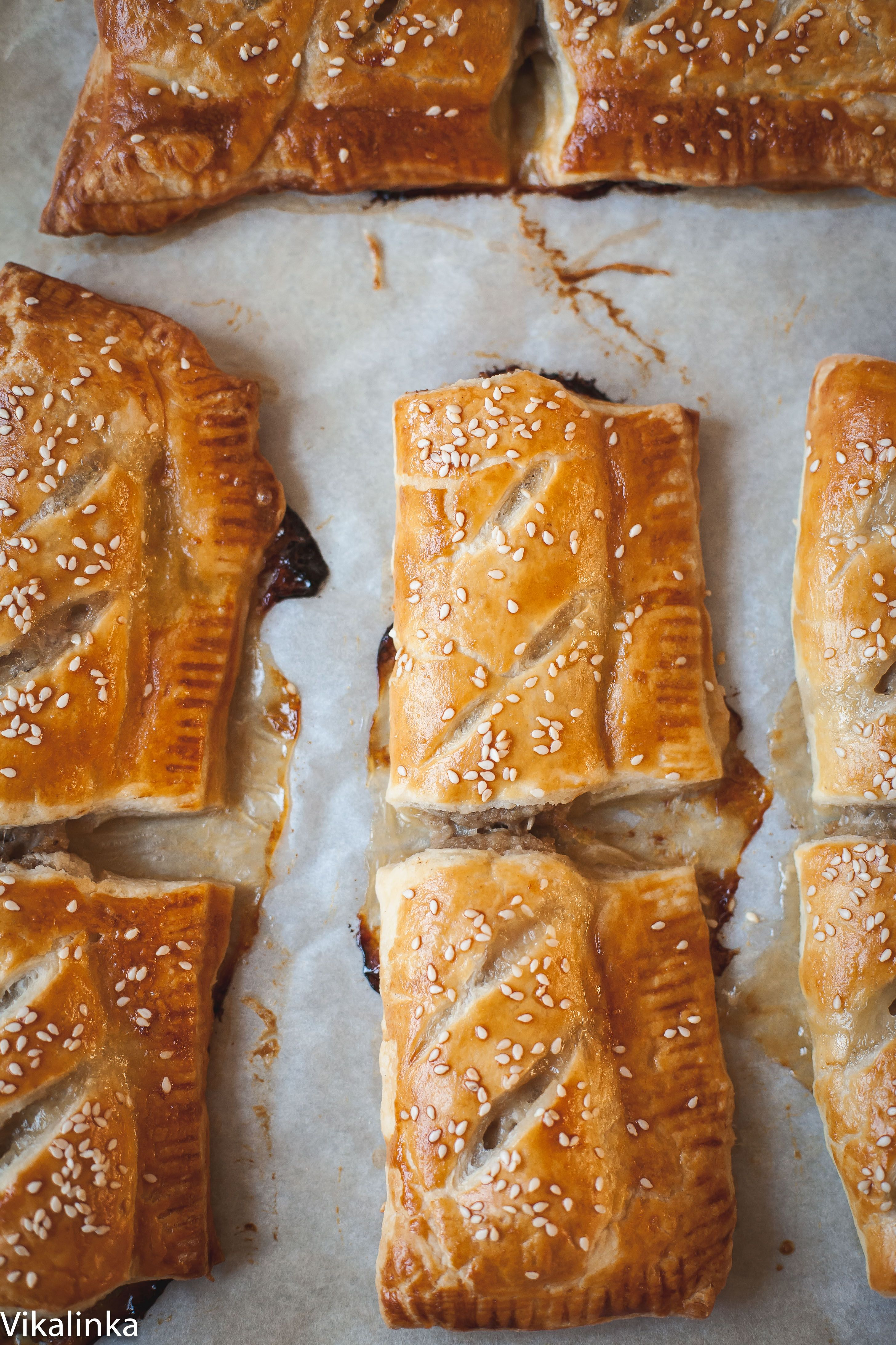 Caramelised onion sausage rolls. Just two ingredients and a bit of your time.