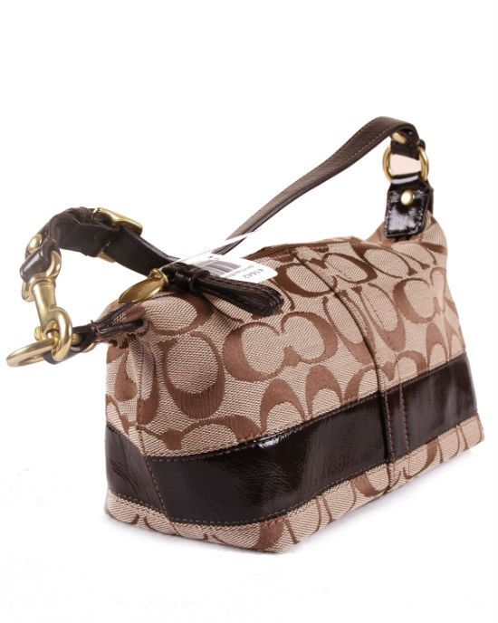 46e366992cd0 COACH Signature Stripe Top Handle Pouch Bag 41642 Khaki Brown