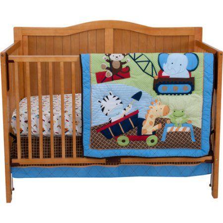 Riegel Under Construction 3 Piece Crib Bedding Set Blue