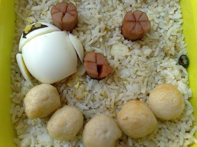 Bento Idea  -Fried rice with Eva egg, sausage(eye) and fishball-