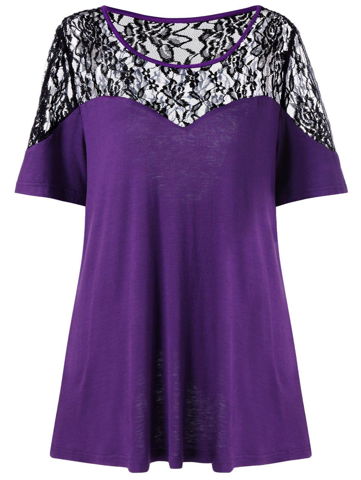 67b39b18d95 Fashion · Plus Size Back Slit Lace Trim T-Shirt - PURPLE 3XL
