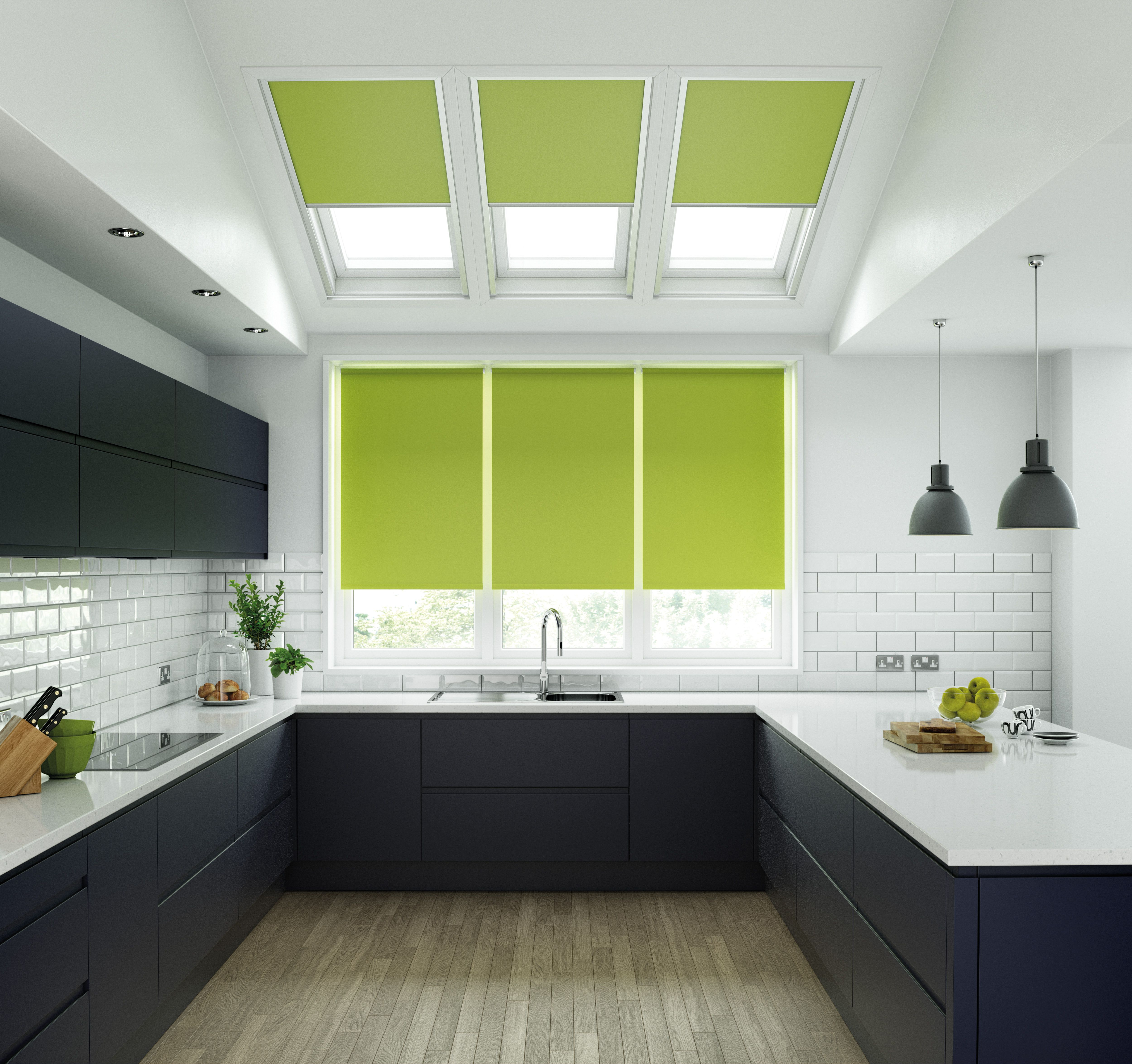Lime Green Roller Blinds In Unilux Fabric Fitted To