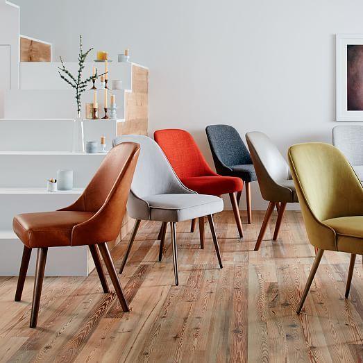 Mid Century Upholstered Dining Chair Velvet Westelm