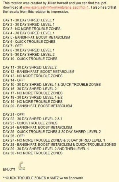 Health and Fitness 8 weeks fat loss plan Jillian Michaels 30 Day - sample 30 60 90 day plan