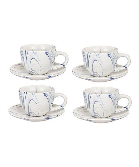 Established 98 Blue Marbled Dixie Cup & Saucer - Set of Four | Zulily #dishware