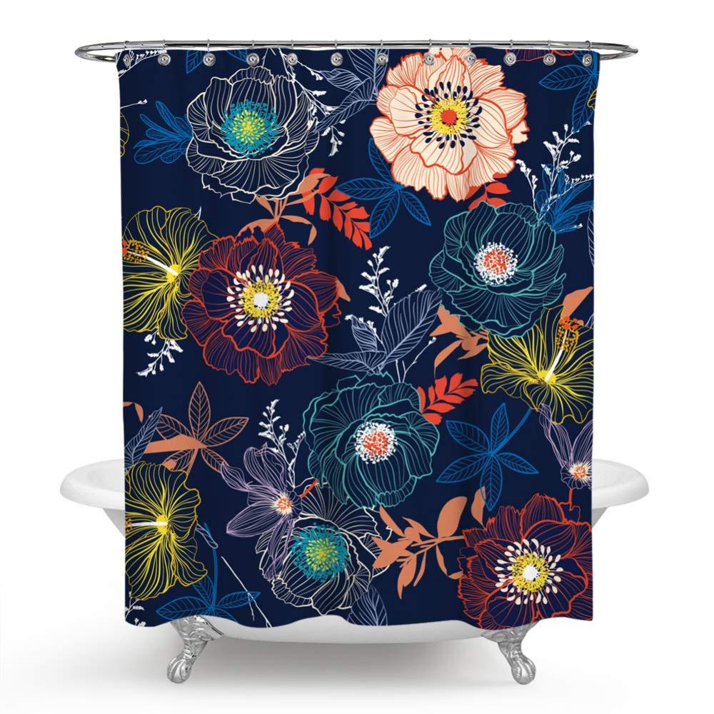 Amazon Com Chengsan Floral Shower Curtain Vintage Floral Border