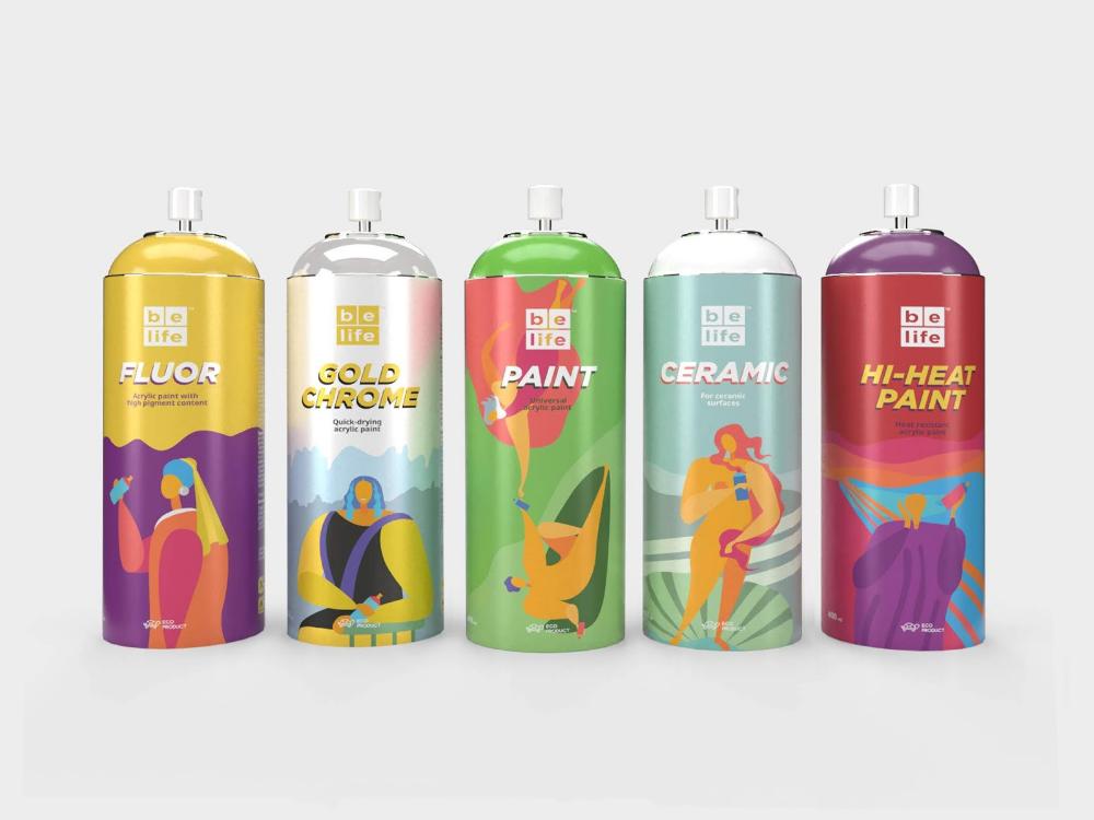 Belife Spray Paint Creative Packaging Design Spray Paint Cans Packaging Design Inspiration