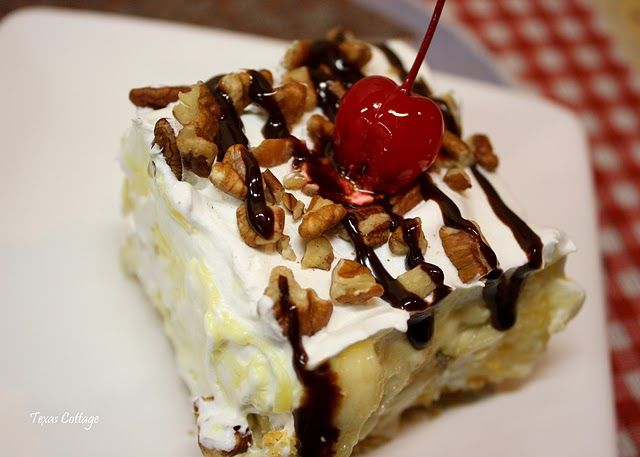 Banana split cake! My SIL made this and all I can say is yummy!
