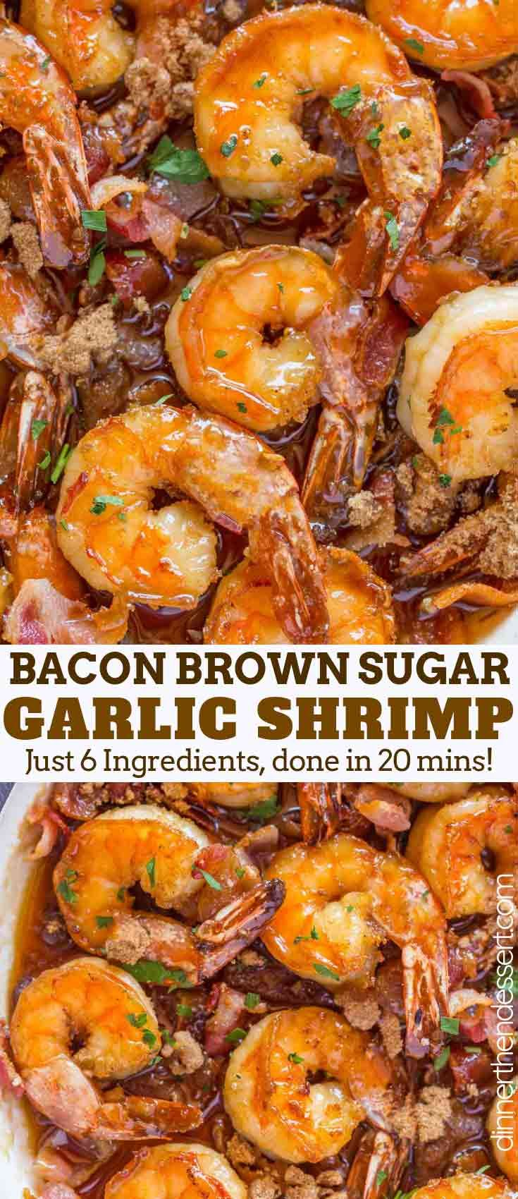 Bacon Brown Sugar Garlic Shrimp, the best shrimp appetizer you'll ever eat with only 4 Ingredient