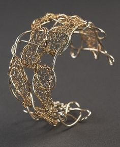 Cuff, Sterling Silver & 14Kt Gold Filled knitted | Wirework Jewelry ...