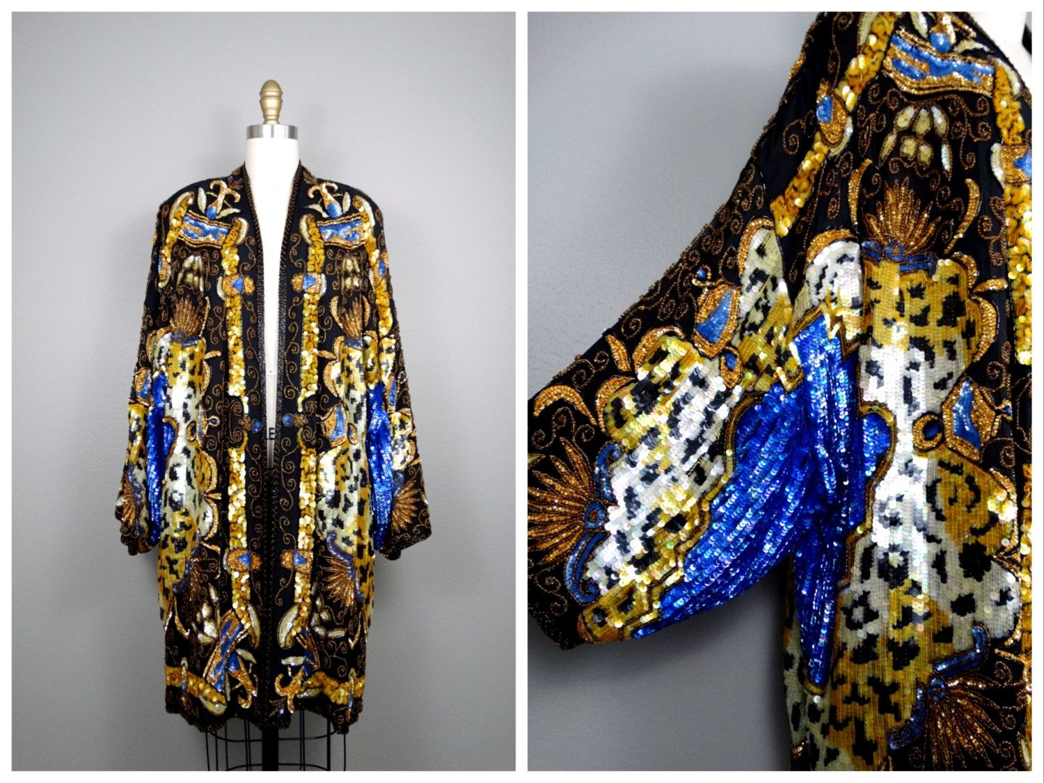 VTG Sequin Kimono Jacket / Bohemian Novelty Open Kaftan / Black ...