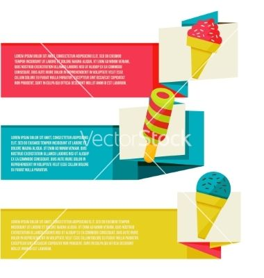 Decorative ice cream paper banners set vector summer fun by sabelskaya on VectorStock®