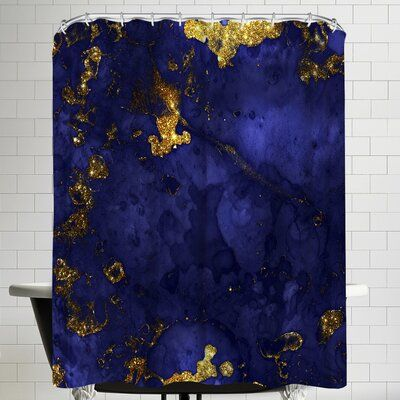 East Urban Home Grab My Art Luxury Blue Malachite Gold Gem Agate And Marble Texture Single Shower Curtain #marbletexture