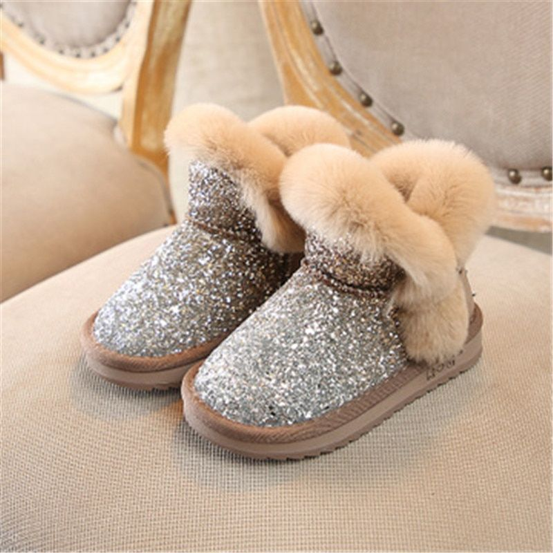 837422a9d3f Scsech Winter Kids Boots Sequined Rabbit Fur Girls Boots Baby Girls Snow  Boots Warm Shoes Toddler Shoes Outdoor Snow Boots S8J03 Review