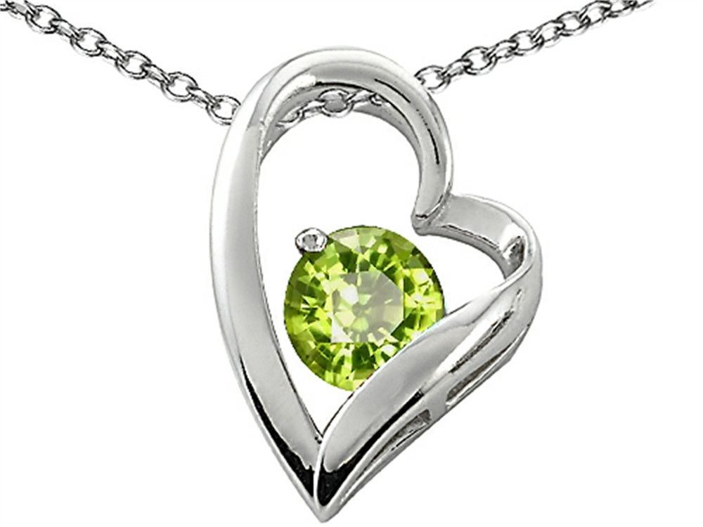 Star K 7mm Round Simulated Peridot Heart Pendant Necklace
