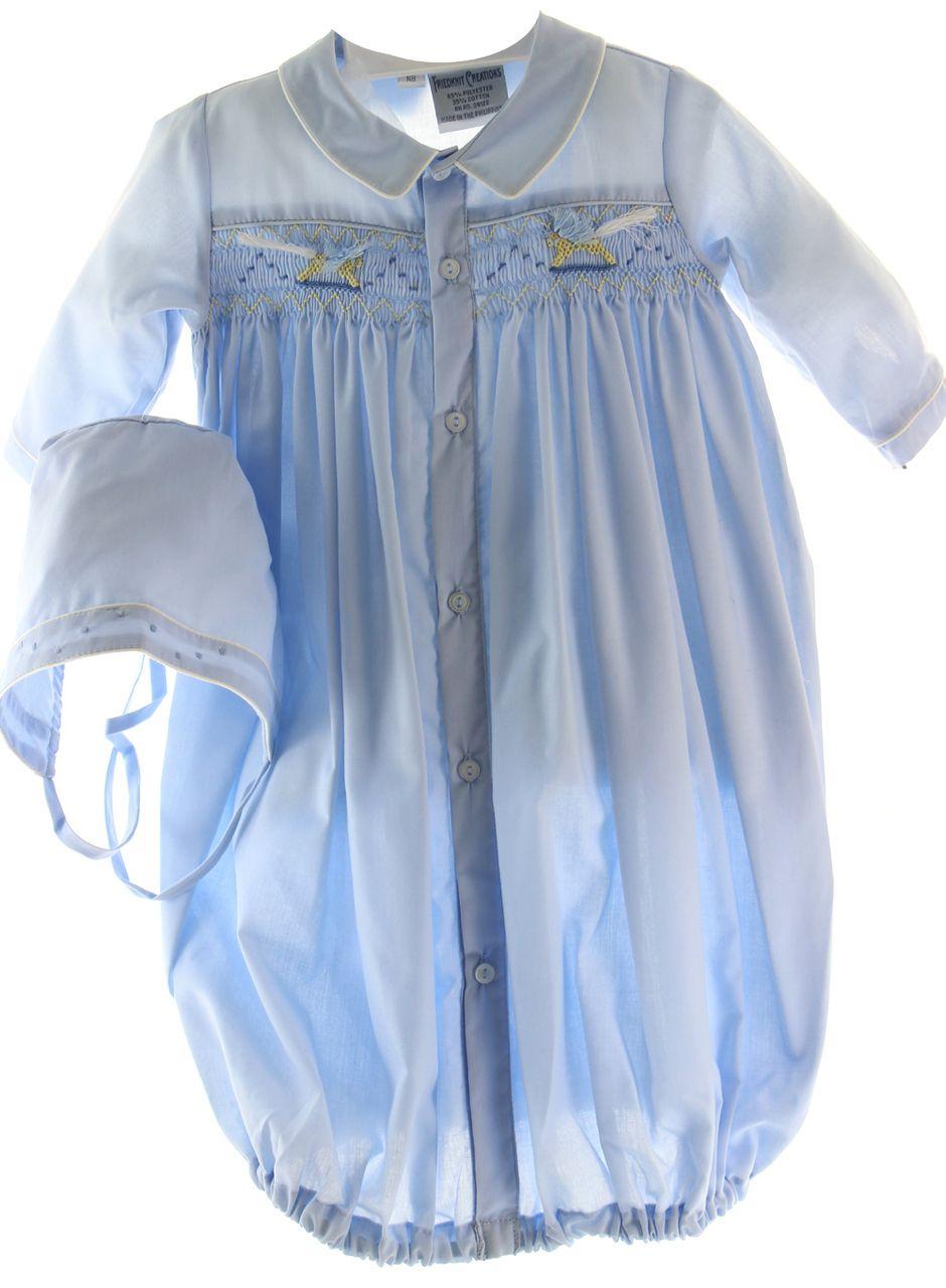 Newborn Boys Blue Smocked Layette Gown Amp Bonnet Rocking