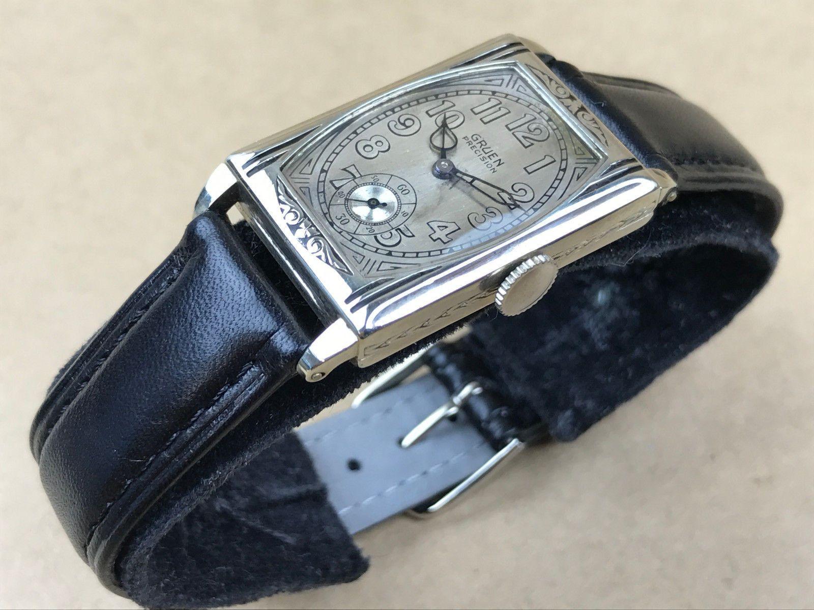 Gruen Precision Quadron Art Deco 1920s White Gold Filled Rectangular ...