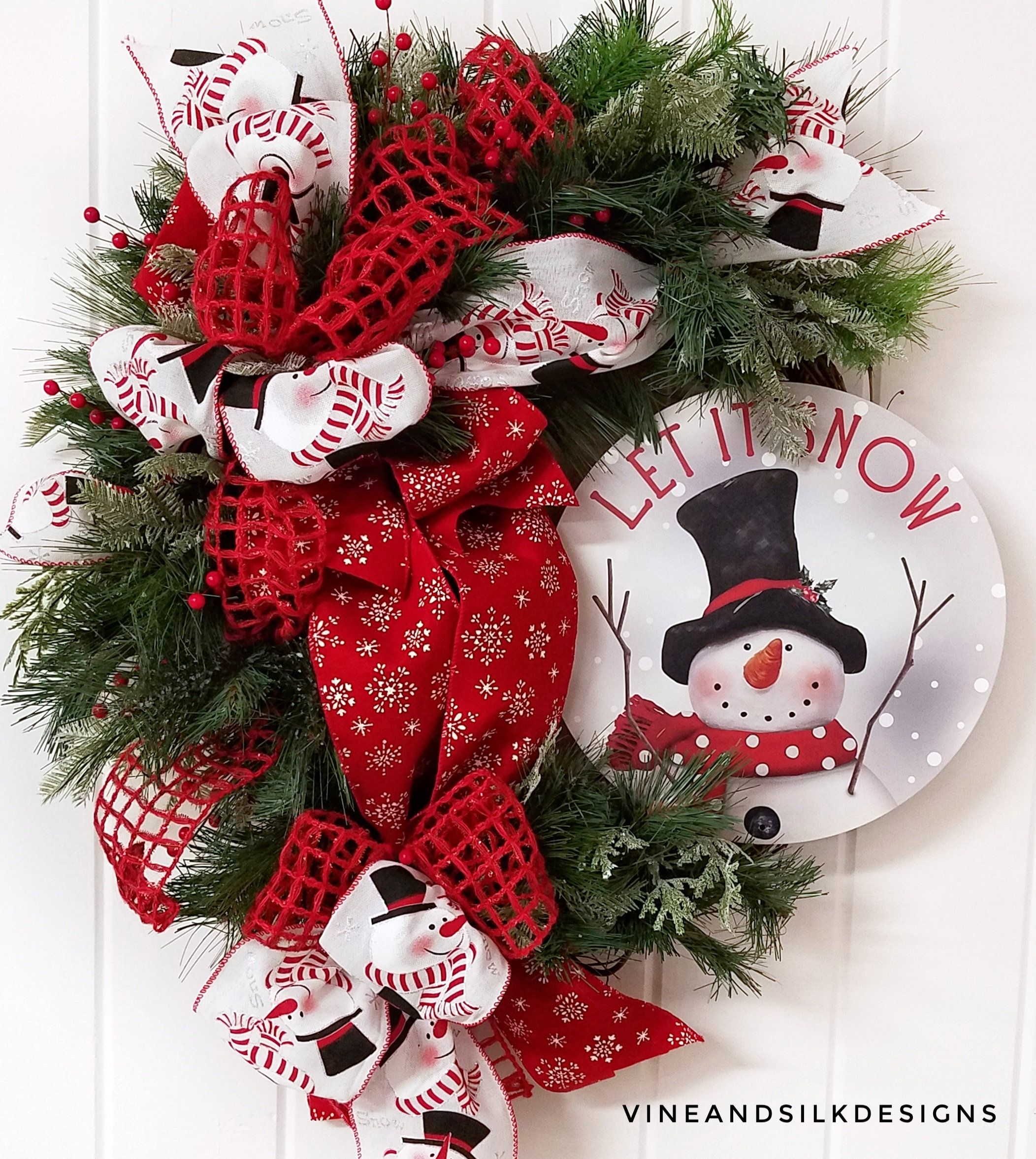 Snowman Christmas Wreath Red Ribbon Christmas Wreath Country Snowman Wreath Snowman Holiday Wreath Snowman Decor Snowman Winter Wreath Christmas Wreaths Christmas Mesh Wreaths Pretty Christmas Decorations