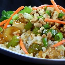 Kung Pao Chicken - Allrecipes.com Doesn't this look yummy! Substitute brown rice