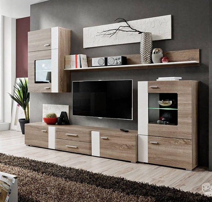 Mueble de salón Monica color truflowy/blanco | Sala ...