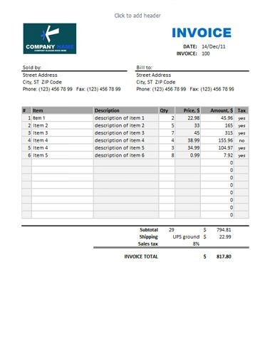 Sales Invoice Template with Blue Theme aa Pinterest - sales invoice template excel