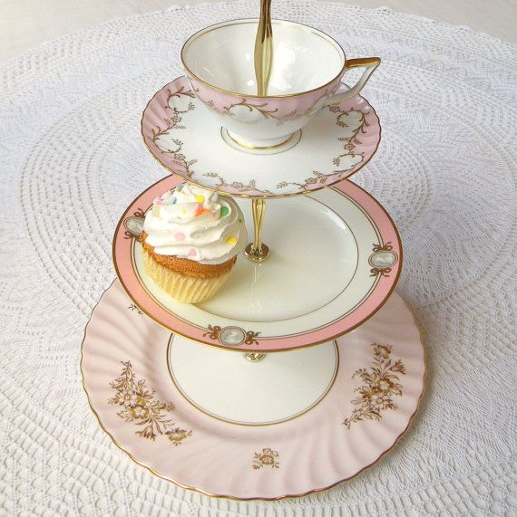 pink party 3 tier cupcake stand tower tea tray cake plate mad hatter