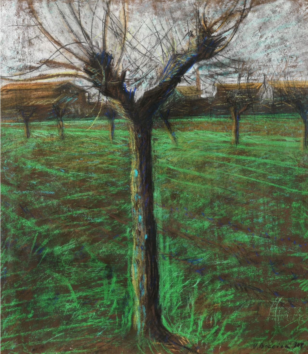 Umberto Boccioni (Italian, 1882 – 1916) Landscape with tree, 1908
