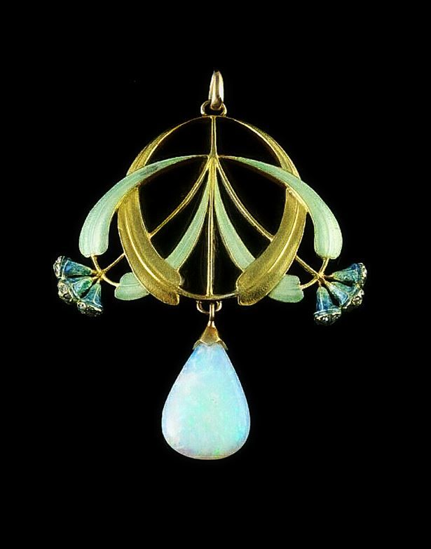 Eugene Feuillâtre, French 1879-1916 | Pendant - An 18 carat gold enameled pendant with a large opal drop and small diamonds in the eucalyptus buds.