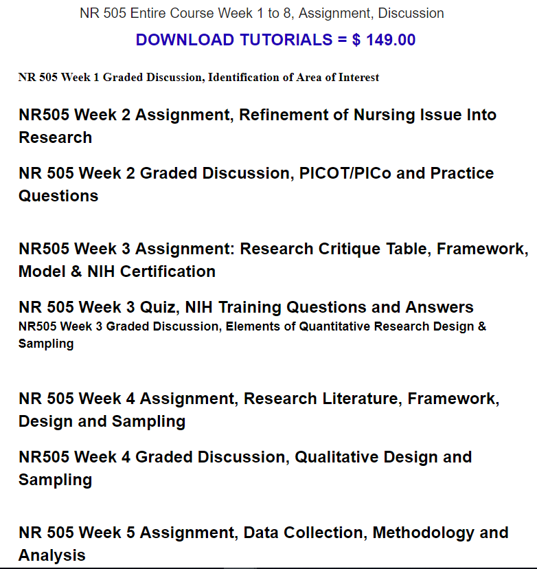 NR 505 Week 1 Graded Discussion, Identification of Area of