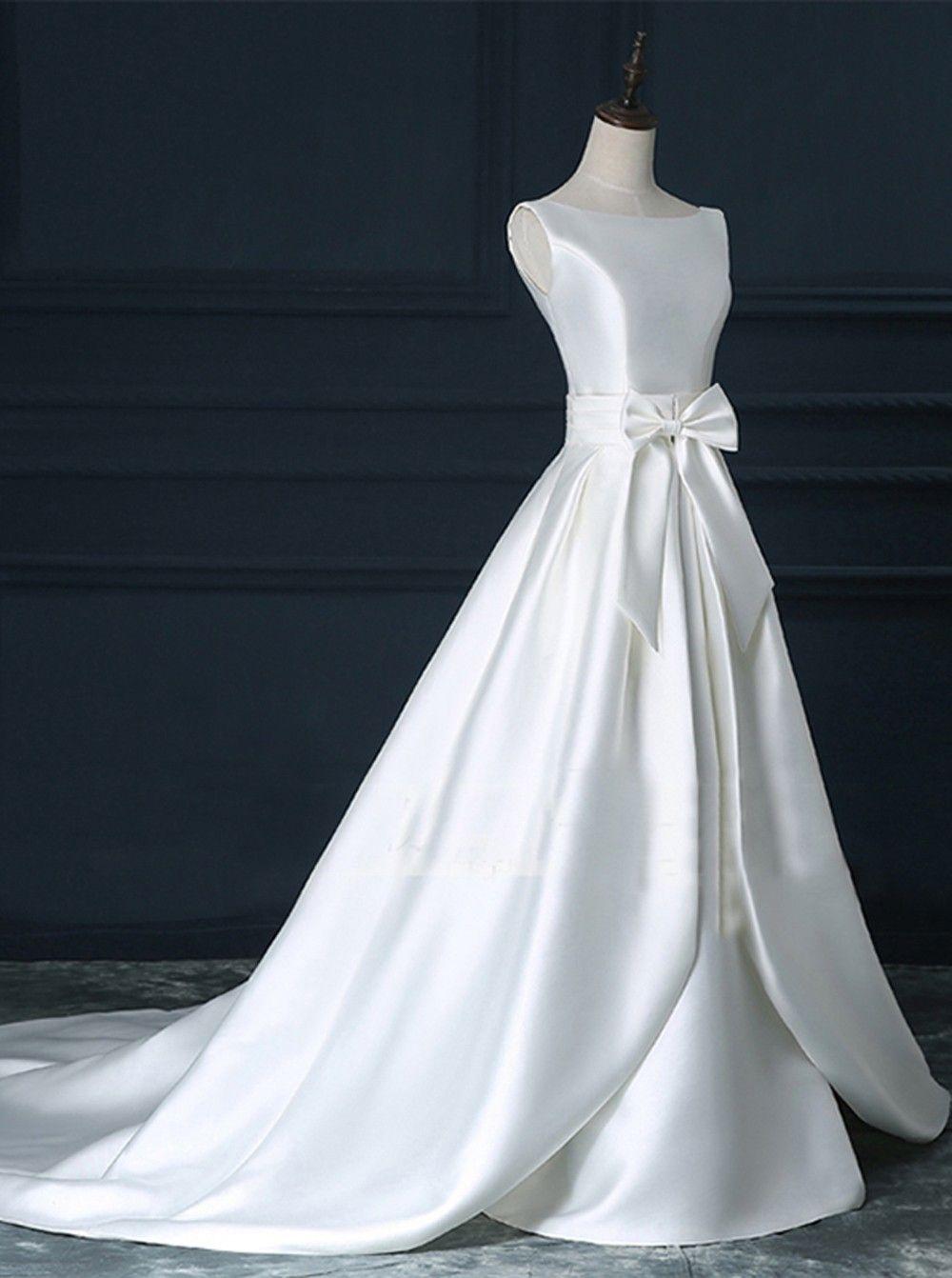 Aline wedding dress scoop court train satin backless zipperup