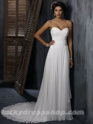 Simple White Sweetheart Natural Chiffon Wedding Dress With Sleeveless (MW3B2B)