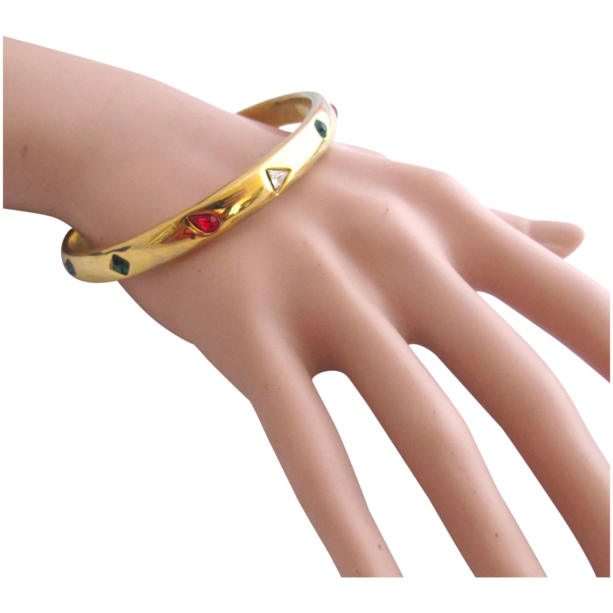 Womens Antique Gold Tone Metallic Beaded Floral Flower Bangle Bracelet Wristband