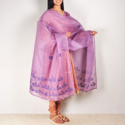 Lavender Organdy Dupatta  This beautiful organdy dupatta with applique and running stitch hand treatment which makes this simple drape more beautiful. This garment is all about colors and stitched patterns. It can make a simple dress look gorgeous. Shop now at: http://www.tadpolestore.com/tara