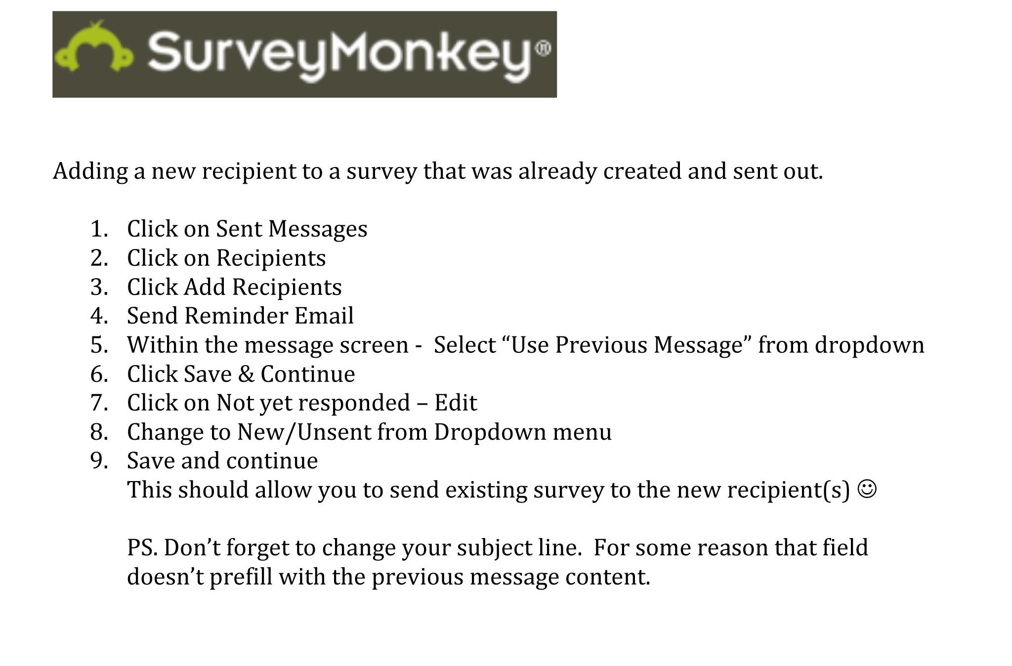 Survey Monkey How To Add A New Recipient To A Survey That Was