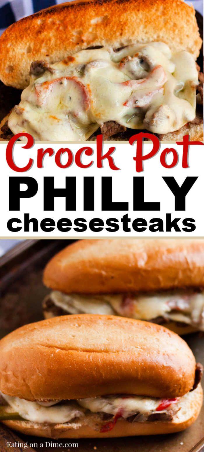 Crock pot Philly Cheesesteaks Sandwiches #sandwichrecipes