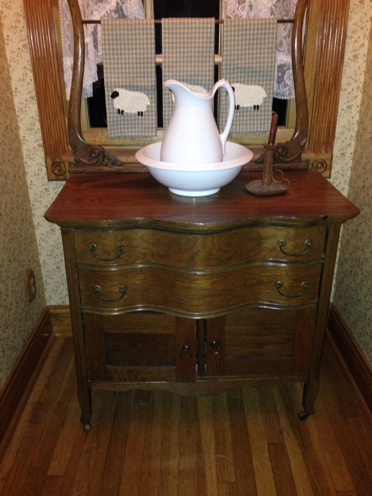Superb Antique Wash Stand With Ironstone Pitcher And Bowl