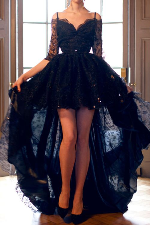 8ac9ebc9283 Elegant High Low Half Sleeves Black Backless Lace Prom Evening Dress